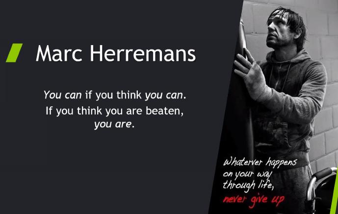 Marc Herremans, Never give Up